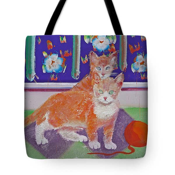 Kittens With Wild Wool Tote Bag by Charles Stuart