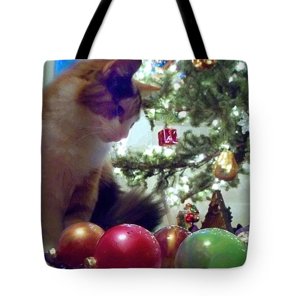 Kitty Helps Decorate The Tree Christmas Card Tote Bag