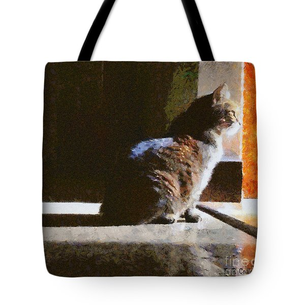 Kitty In The Light Tote Bag