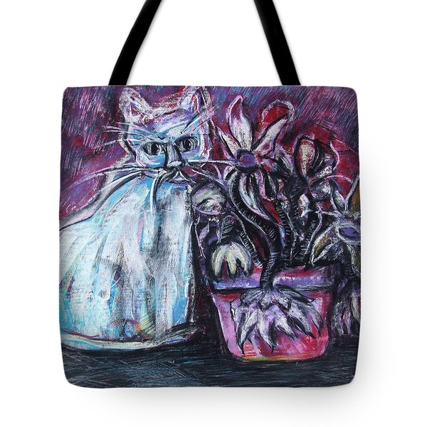 Kitty With Flowers Tote Bag