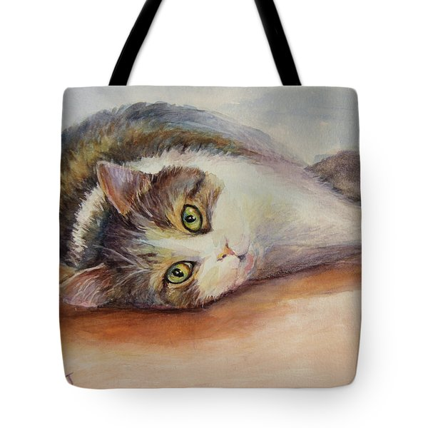 Kitty With Spilled Milk Tote Bag