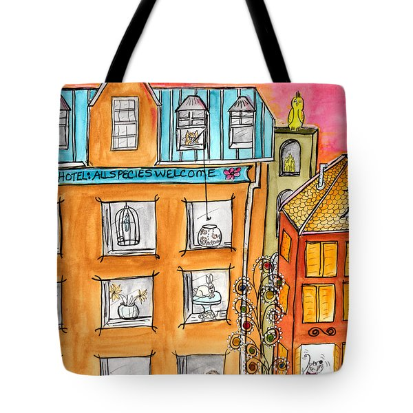 Tote Bag featuring the painting Kittyscape Hotel by Lou Belcher
