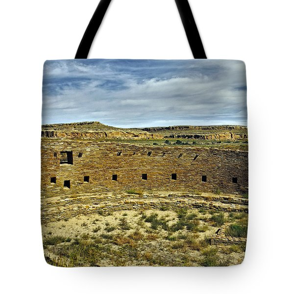 Tote Bag featuring the photograph Kiva View Chaco Canyon by Kurt Van Wagner