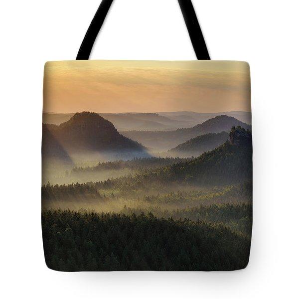 Kleiner Winterberg Silhouettes, Saxon Switzerland, Germany Tote Bag