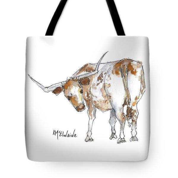 Kmcelwaine Logo Longhorn, Ollie, Texas Longhorn Art Print,watercolor Cow Painting, Whimsical, Tote Bag