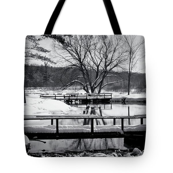 Knapp Creek At Seven Pines Lodge Tote Bag by Cynthia Dickinson