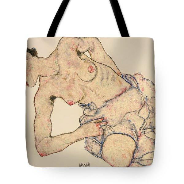 Kneider Weiblicher Halbakt Tote Bag