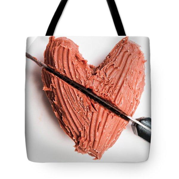 Knife Cutting Heart Shape Chocolate On Plate Tote Bag