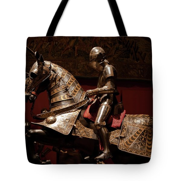 Knight And Horse In Armor Tote Bag