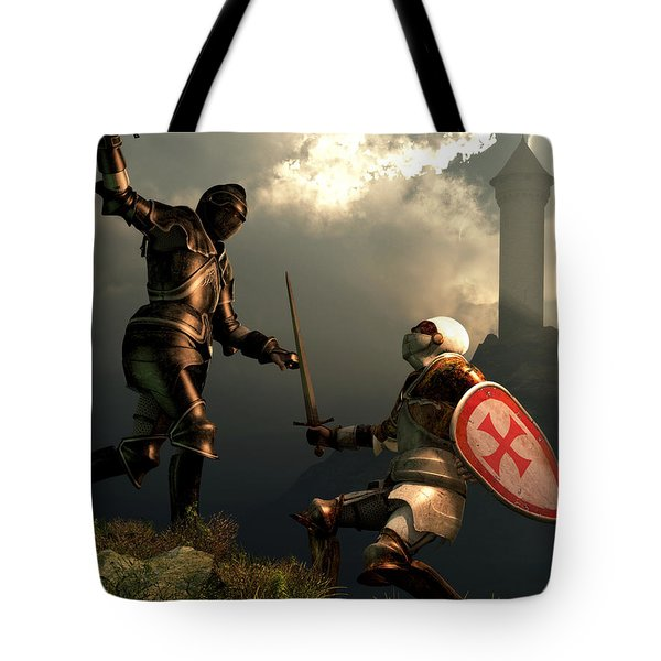 Knight Fight Tote Bag by Daniel Eskridge