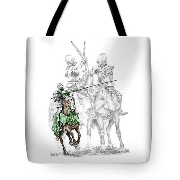 Knight Time - Renaissance Medieval Print Color Tinted Tote Bag