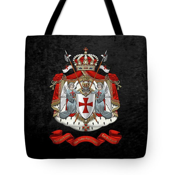 Knights Templar - Coat Of Arms Over Black Velvet Tote Bag