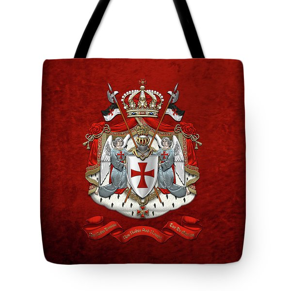 Knights Templar - Coat Of Arms Over Red Velvet Tote Bag