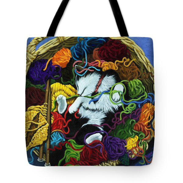 Tote Bag featuring the painting Knitter's Helper - Cat Painting by Linda Apple