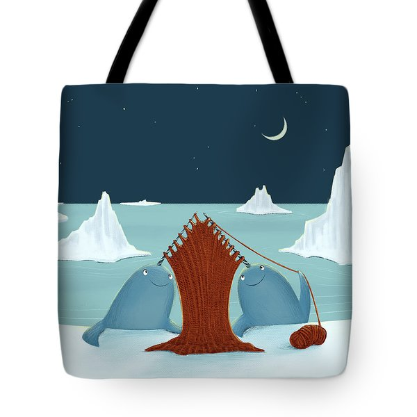 Knitting Narwhals Tote Bag