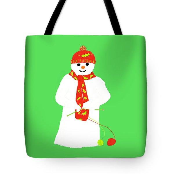 Knitting Snowman Tote Bag by Barbara Moignard