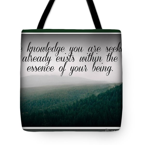 Tote Bag featuring the digital art Knowledge You Seek by Holley Jacobs