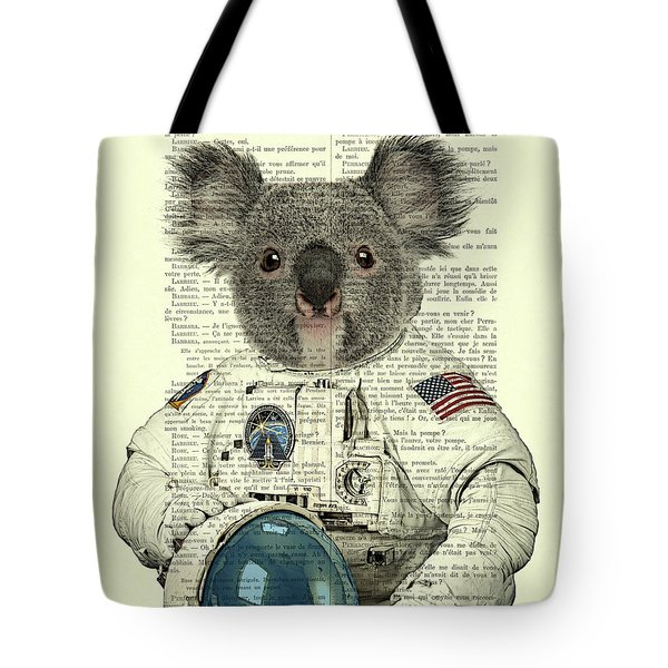 Koala In Space Illustration Tote Bag