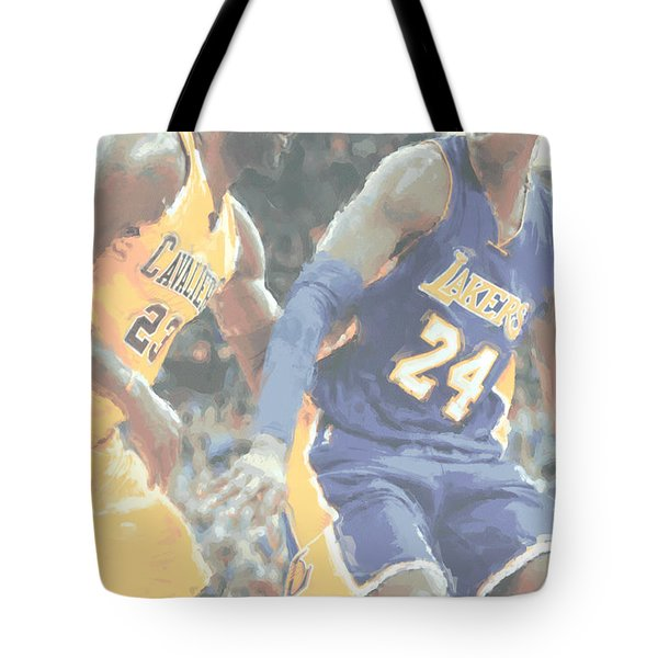 Kobe Bryant Lebron James 2 Tote Bag by Joe Hamilton