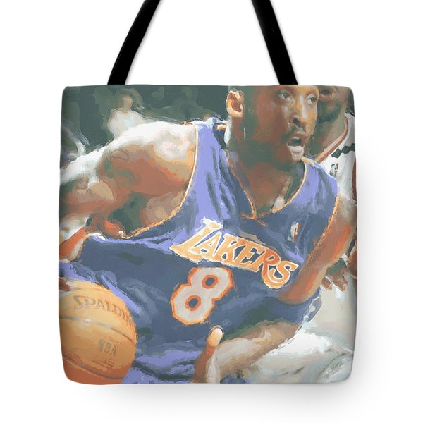 Kobe Bryant Lebron James Tote Bag by Joe Hamilton