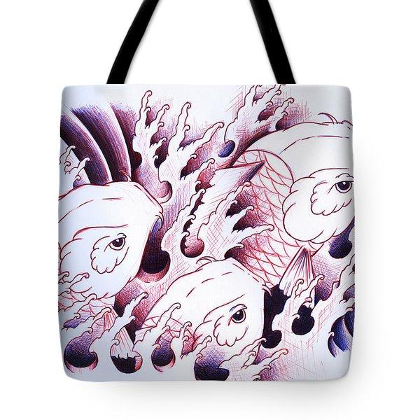 Koi Carps In Water Tattoo Art Tote Bag