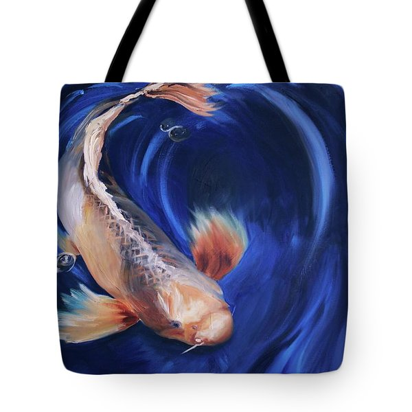Tote Bag featuring the painting Koi by Donna Tuten