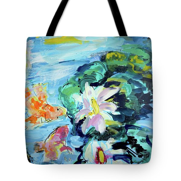 Koi Fish And Water Lilies Tote Bag