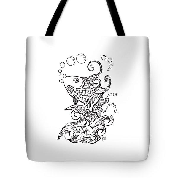 Koi Fish And Water Waves Tote Bag