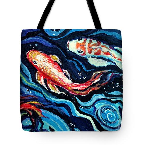 Koi Fish In Ribbons Of Water II Tote Bag