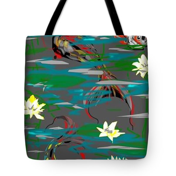 Tote Bag featuring the greeting card Koi Fish by Rae Chichilnitsky