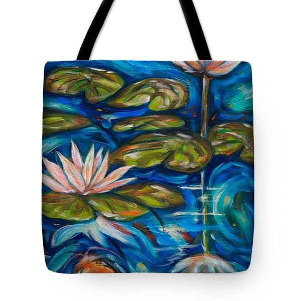 Tote Bag featuring the painting Koi Flower Reflection by Linda Olsen