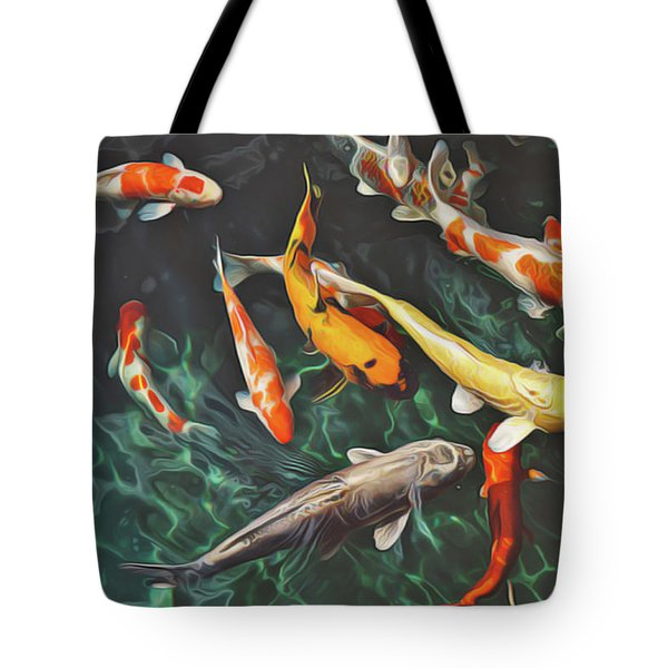 Tote Bag featuring the painting Koi by Harry Warrick