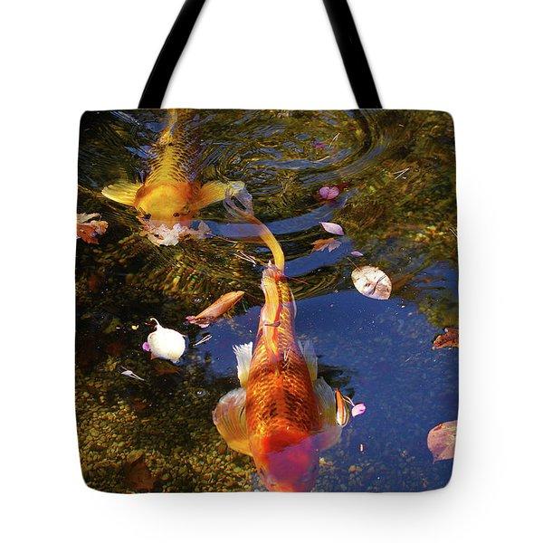 Koi In Pond Tote Bag