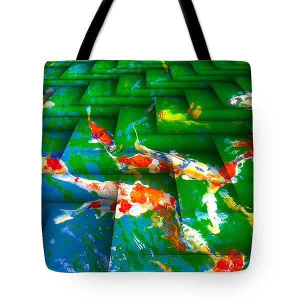 Tote Bag featuring the digital art Koi Mosaic I by Manny Lorenzo