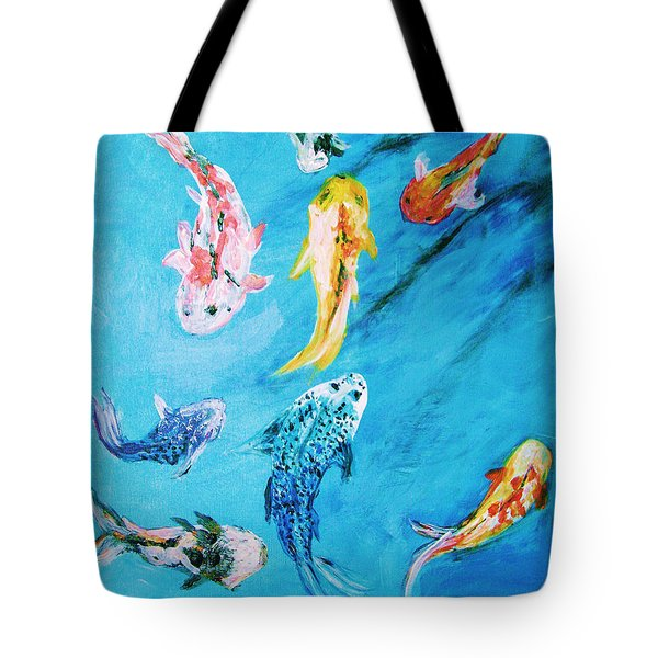 Tote Bag featuring the painting Swimming Koi Fish From The Water Series by Donna Dixon