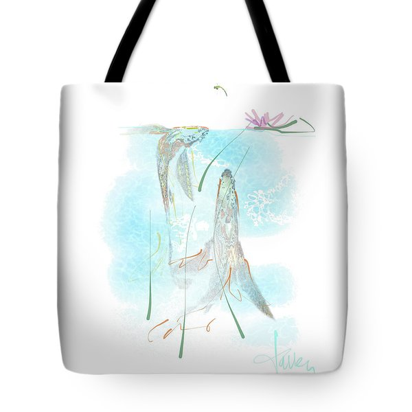 Tote Bag featuring the mixed media Koi Pond  by Larry Talley