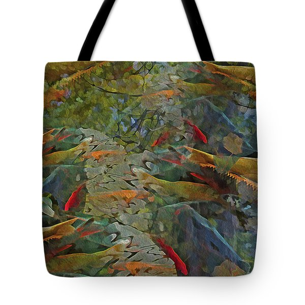 Tote Bag featuring the mixed media Koi Pond With Reflections 9 by Lynda Lehmann
