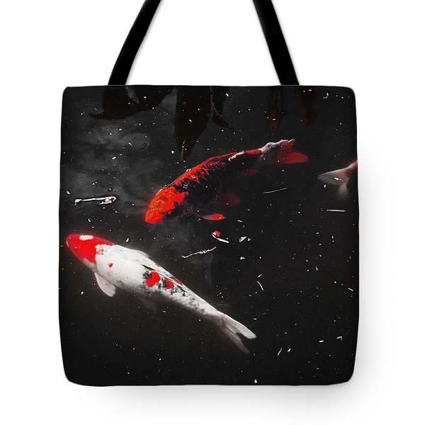 Tote Bag featuring the photograph Koi Trio 1 by Deborah  Crew-Johnson