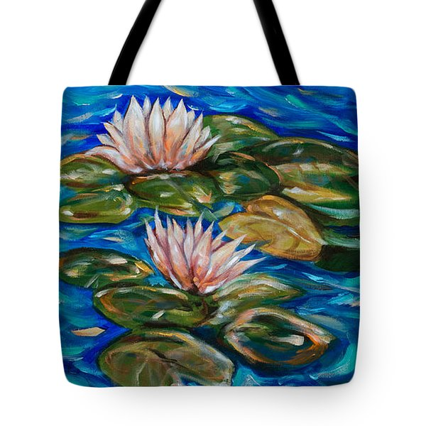 Tote Bag featuring the painting Koi With Two Blooms by Linda Olsen