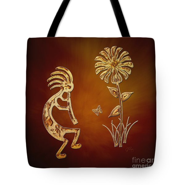 Kokopelli - Flower Serenade Tote Bag