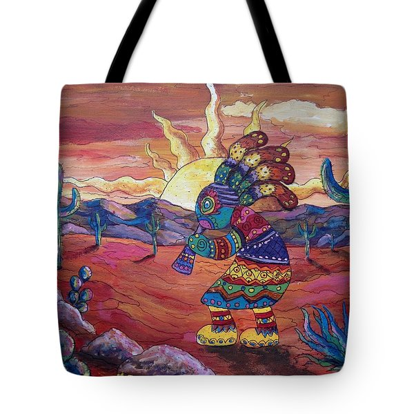 Kokopelli Sunset Tote Bag by Megan Walsh