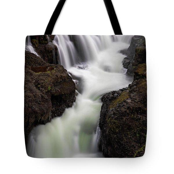 Tote Bag featuring the photograph Kolugljufur Waterfalls by Tom Singleton