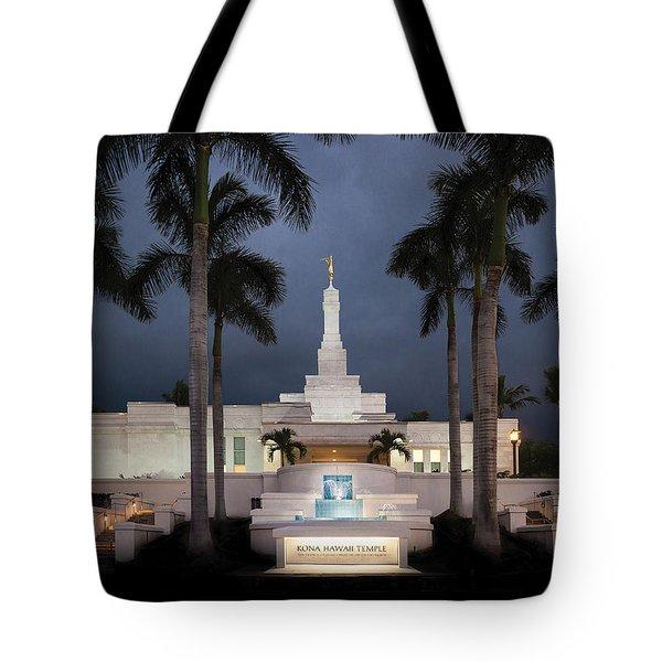 Kona Hawaii Temple-night Tote Bag by Denise Bird