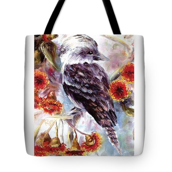 Kookaburra In Red Flowering Gum Tote Bag