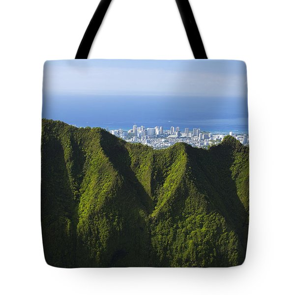 Koolau Mountains And Honolulu Tote Bag by Dana Edmunds - Printscapes