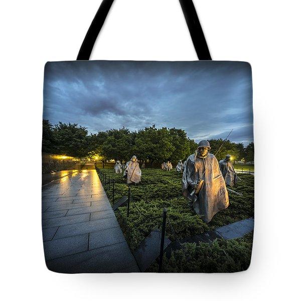 Tote Bag featuring the photograph Korean War Memorial by David Morefield