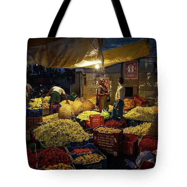 Tote Bag featuring the photograph Koyambedu Chennai Flower Market Predawn by Mike Reid