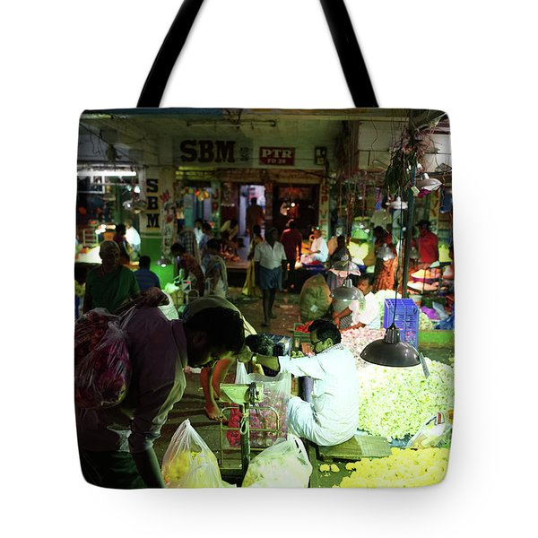 Tote Bag featuring the photograph Koyambedu Flower Market Stalls by Mike Reid