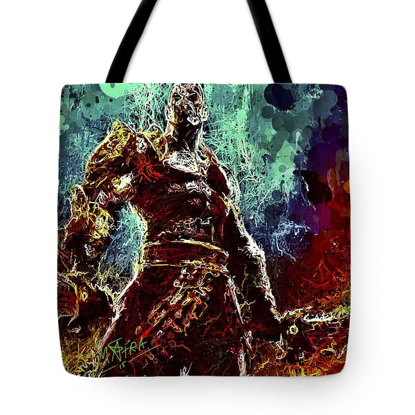 Tote Bag featuring the mixed media Kratos by Al Matra