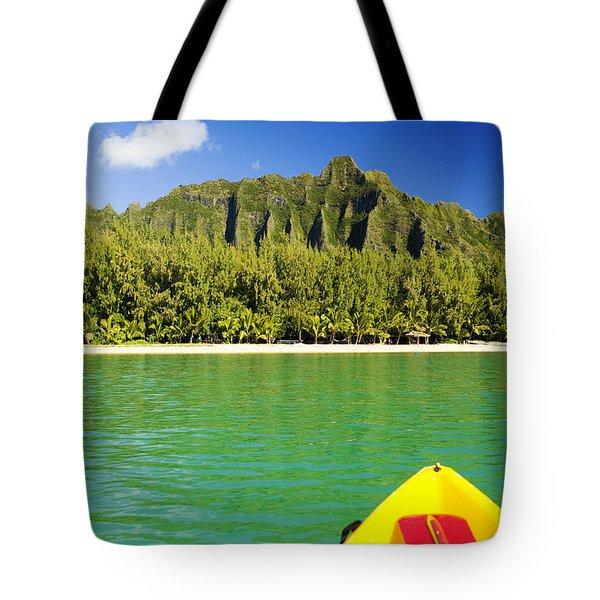 Kualoa Mountains From Kay Tote Bag by Dana Edmunds - Printscapes